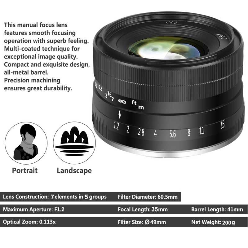 35 мм F1.2 большой группа перфорированных aps-c алюминиевый Объектив для цифровой фотокамеры Fuji X Крепление без зеркало X-A1 X-A10 X-A2 X-A3 X-M1 X-M2 X-T1 X-T1