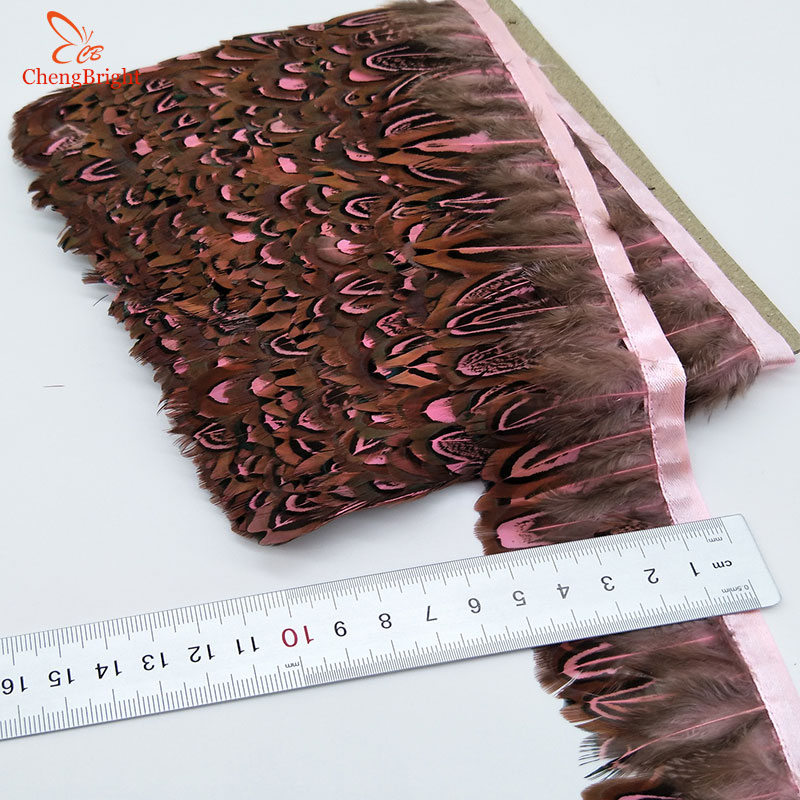 ChengBright 10Yards Pink Real Pheasant Feather Trims Wedding Dress Skirt Party Clothing Decoration DIY Feather Ribbon Craft DIY