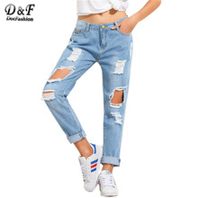 Dotfashion Blue Distressed Boyfriend Pants Female Mid Waist Button Fly Long Trousers Dual Pockets Ripped Jeans