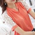 Лето блузка женщины свободного покроя шифон кружево блузка версия без тары шитьё кружево короткий рукав blusa feminina рубашка