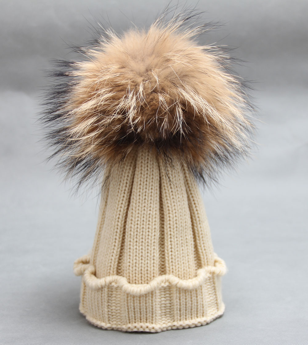 2016 Kids Children FUR Brand Wool Blend Girls Hat Warm Winter With Genuine Dyed Raccoon Fur Pom Poms Cute Kids Cap Boys Beanie тени для век essence the metals eyeshadow 06 цвет 06 rose razzle dazzle variant hex name e9bfbb