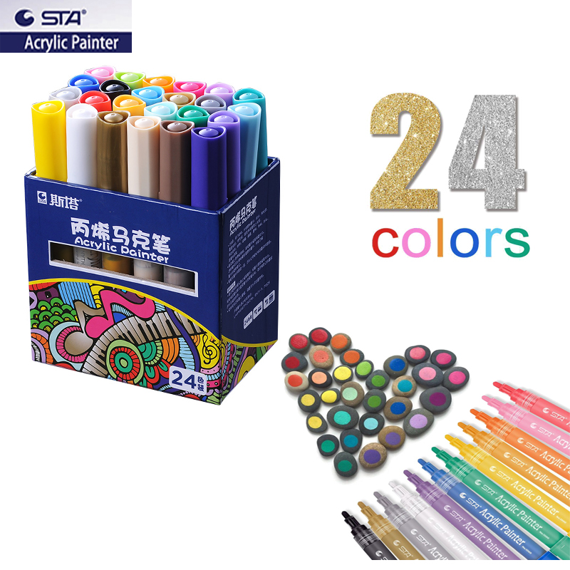 Us 13 96 38 Off Sta Permanent Colored Acrylic Paint Markers Set For Wood Tyre Car Metal Fabric Plastic Round Fine Nib 2mm Water Based Pens In Marker