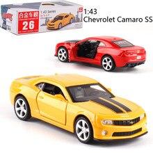 1:43 escala chevrolet camaro ss liga, carro de trás diecast, modelo de metal, carro para coleção, amigo, presente para crianças