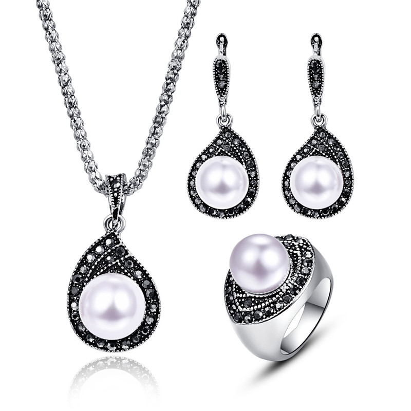 Svatební Pearl šperky sady pro ženy Starožitné stříbrné barvy plné černé drahokamu vody Drop přívěsek náhrdelník náhrdelník náušnice sada  t