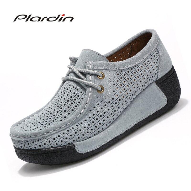 Plardin New Woman Casual Shoes Women Cutouts Breathable Flats Shoes   Suede     Leather   Cutout Platform Flats Shoes Woman Ladies Shoes
