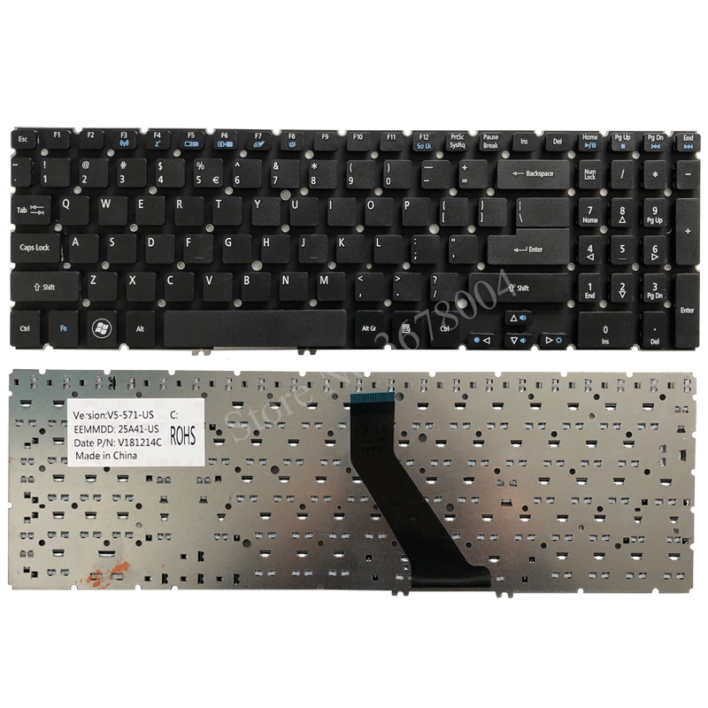 New US Black Laptop Backlit Keyboard Replacement for Acer Aspire MS2361 M3-581 M3-581G M3-581T M3-581TG Light Backlight Without Frame