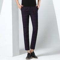 Mens Thin Elastic Ankle Length Pants Men Skinny Khaki Casual Pants Business Dress Chino Pants Man