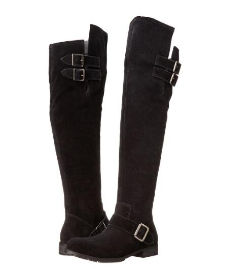 Spring and autumn woman black flat round toe long boots Ladies winter buckle strap low heel knee-high long boots Knight boots 2016 new arrival 15cm ladies motorcycle autumn and winter boots round toe 6 inch high heel boots sexy flock buckle boots