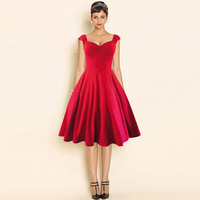 Kobiet W Stylu Vintage 50 s 60 s Cape Rękawem Casual Dress Red Cocktail Party Tunika Wysokiej Talii Moda Plisowane Ruched Linii Swing Sukienka