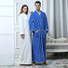 Plus Size Long Thick Flannel Warm Lovers Dressing Pregnant Bathrobe Winter Thermal Gown