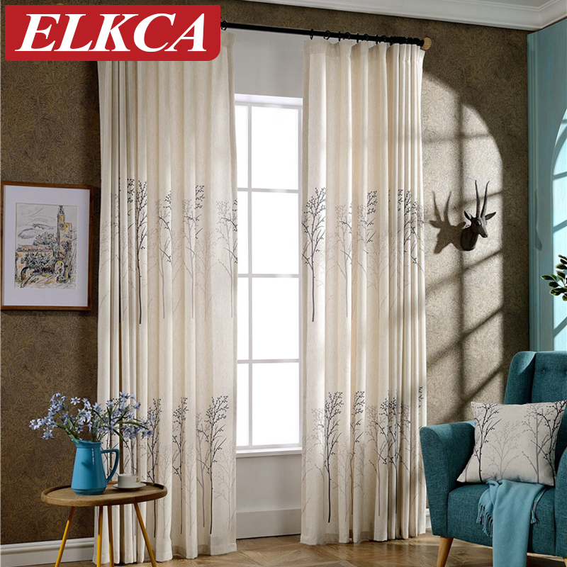 Luxury Tree Printed Faux Linen Curtains For The Bedroom Fancy Window  Curtains For Living Room Decorative Modern Curtains Drapes In Curtains From  Home ...