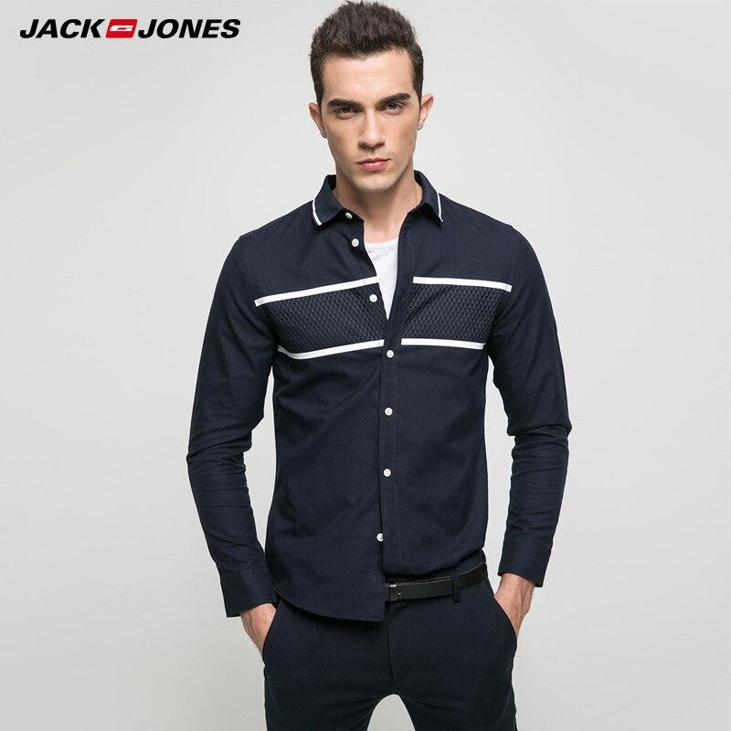 De la marca JACK & JONES 2018 nuevo joven casual 100% algodón giro-abajo collar de longitud completa las mangas camisas | 217105505 |