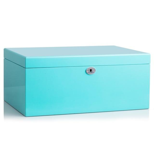 Large White Wooden Jewellery Boxes Storage Display Blue Organiser Velvet Rings Earrings Watches Black Box Packaging