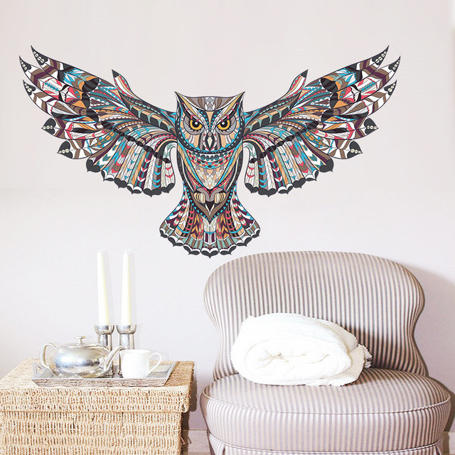 Painted Owl Art Wall Sticker
