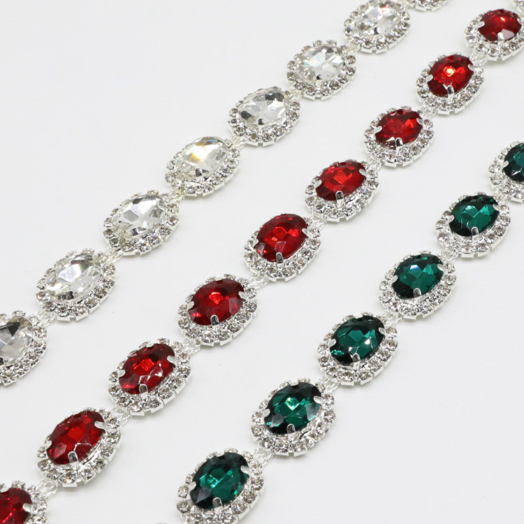 5 Yards lot Silver Clear Claws Round AB Green Red Rhinestones Crystal Chain Trim for Belts