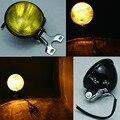 "New Retro Universal 5"" Classic Yellow Glass Motorcycle Headlight Front Light Head Lamp for Harley Atv"