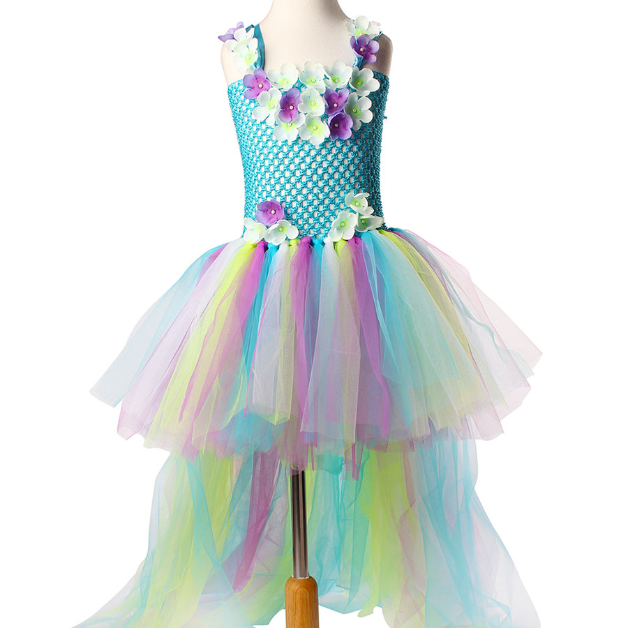 Kids Princess Multi Colored Flowers Long Tail Tutu Dress Baby Girls (2)