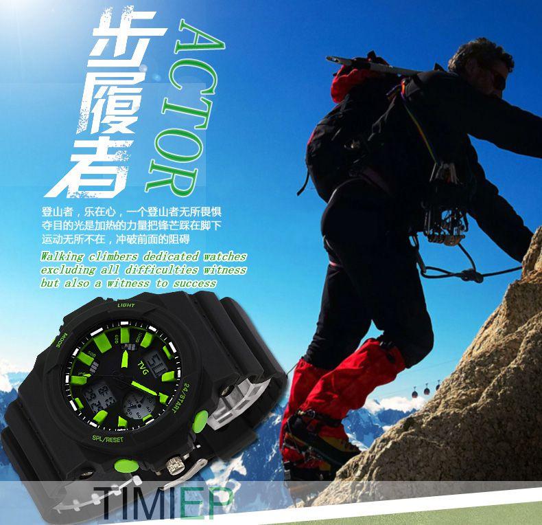 TVG 2018 ผู้ชายภูเขาขี่ดู LED - นาฬิกาผู้ชาย