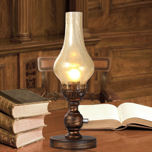 European Vintage Kerosene Table Lamp For Bedroom Study Frosted Gl Shade Retro Bedside