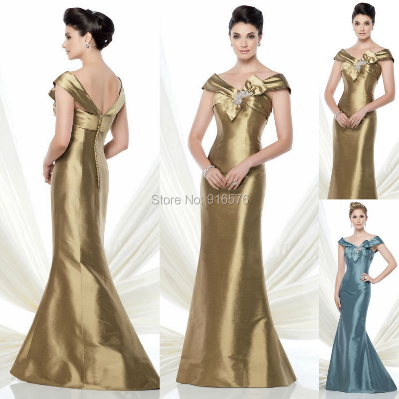 2015 Cape Sleeves Mother Of The Bride Dress Gold Brown Women Wedding ...