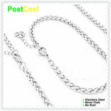 Chain Width 4MM Keel Style Fashion Jewelry Sets 100% Stainless Steel Necklace 40/50/60/70/80/90cm/Bracelet 18/20/22cm 15 DIY(China)