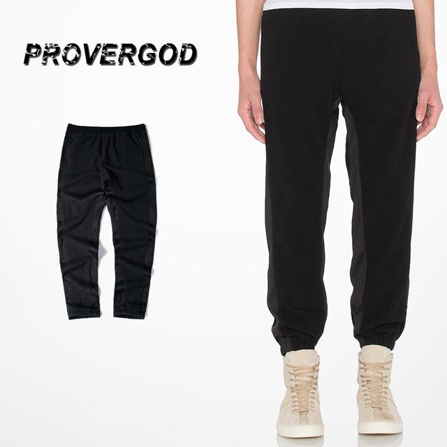Provergod nueva calle kanye basculador algodón sólido hip hop patchwork terciopelo pantalones causales pantalones m-xl