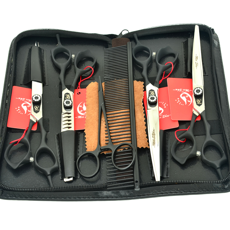 Meisha 7 inch High Quality Pet Scissors Set for Grooming Styling Japan 440c Dog Curved Shears Hairdressing Tool HB0077