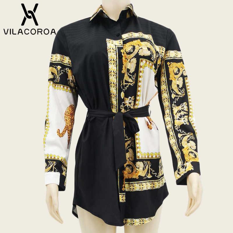 Модный Сексуальный Кардиган с отворотом и длинным рукавом, Длинная блузка с принтом, Женская стильная уличная трендовая женская рубашка, платье, сорочка для женщин