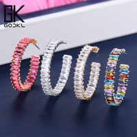 GODKI 35 MM luxe multicolore cubique zircone grand cerceau boucles d'oreilles pour les femmes de mariage Dubai boucles d'oreilles à la mode boucle d'oreille femme