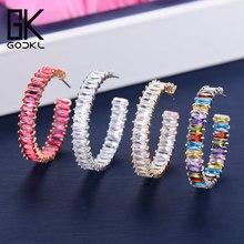Godki 35 Mm Cao Cấp Nhiều Màu Đá Cubic Zirconia Lớn Đôi Khuyên Tai Vòng Cho Nữ Cưới Dubai Hợp Thời Trang Bông Tai Boucle Doreille Femme