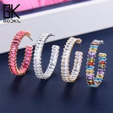Godki 35 Mm Luxe Multicolor Zirconia Big Hoop Oorbellen Voor Vrouwen Wedding Dubai Trendy Oorbellen Boucle D Oreille Femme