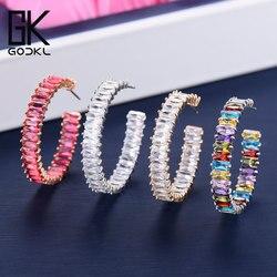 Godki 35mm luxo multicolorido zircônia cúbica grandes brincos de argola para o casamento feminino dubai brincos na moda boucle doreoreille femme