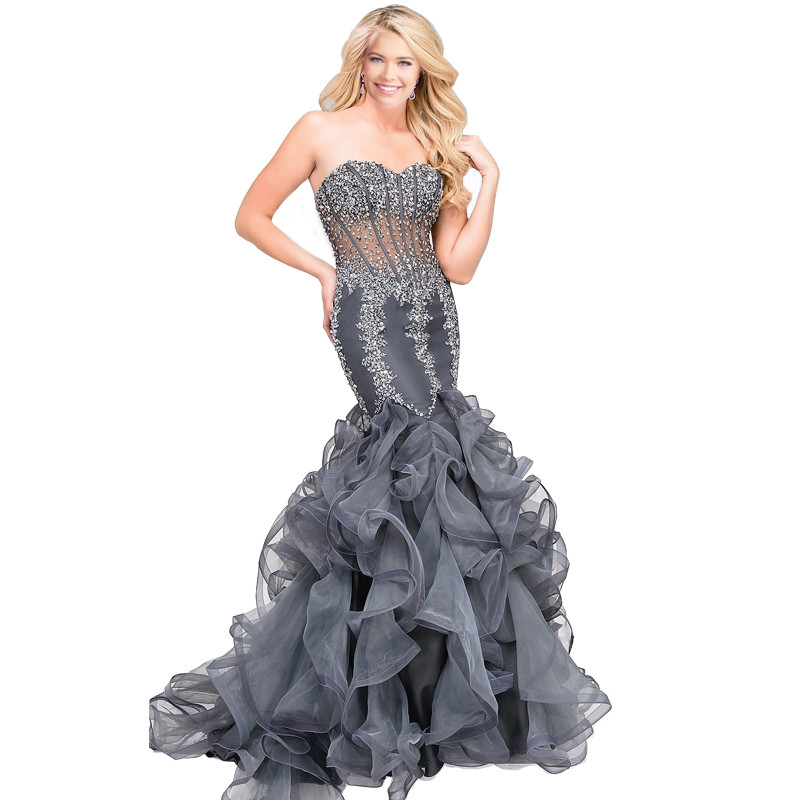 Sexy Cinza Mermaid Prom Dress Com o Crystal Beading Querida Off The Shoulder Varrer Train Prom Vestidos de Festa Vestido Formal Vestidos