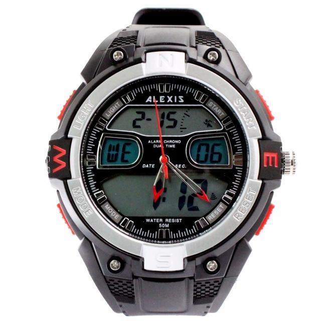 ALEXIS Бренд AW402B Dual Time Умные Мужские Часы Дата, сигнализация, хронограф Серебряный Ободок Водонепроницаемость Мужские Аналоговые Цифровые Часы
