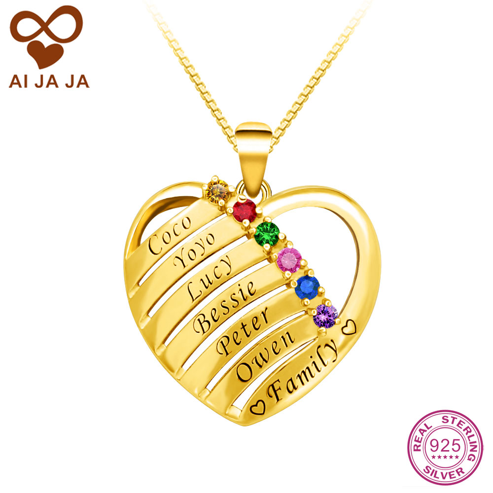 81dade5bab85c US $72.0 |AIJAJA 925 Sterling Silver Heart Shape Necklaces & Pendants  Personalized Family Birthstones Names Engraved Necklaces Gold Color-in  Pendant ...