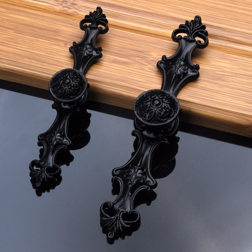 96/128mm European Cabinet Door Handles & Knobs Vintage Black Drawer Pulls Handle Zinc Alloy Retro Furniture Hareware