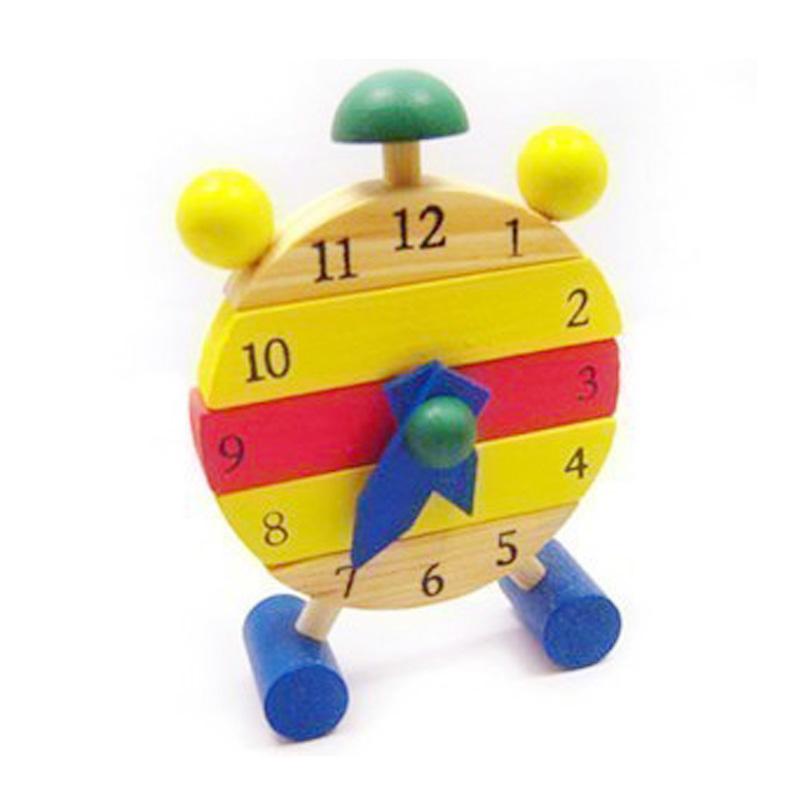 beb bloques nios educativos juguetes de madera del reloj hecho a mano reloj de tiempo de