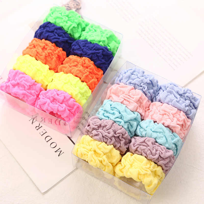 10PCS New Fashion Wide Soft Elastic Rubber Band Women Girls Hair Accessories Seamless Wrinkle Ponytail Holders Headwear Tie Gum