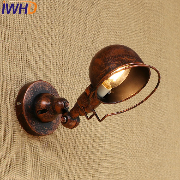 IWHD Loft Style Edison Wall Sconce Bedside Lamp Rotating Arm Industrial Vintage Wall Light Fixtures Indoor Lighting Lamparas industrial vintage wall lamps simple style wall lights loft little umbrella double arm bedside lamp restaurant light fixtures