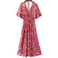 2018 Summer dress exotic floral print V neck maxi drawstring waist long Women's dress vestidos