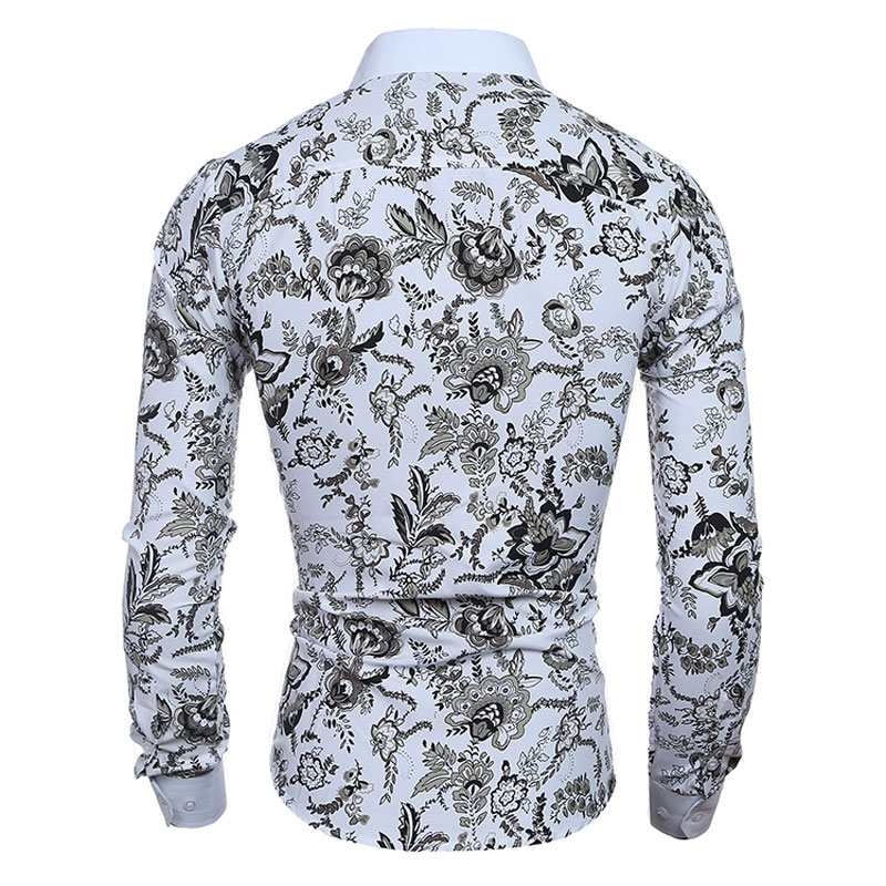 Elegant Noble Floral Prints Men Shirt Fashion Mens Shirts Long sleeve Slim  Fit Casual Social Camisas Masculinas Chemise homme-in Casual Shirts from  Men s ... b3481c9f39