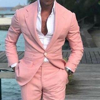 2018 최신 코트 바지 디자인 여름 해변 남자 정장 핑크 정장 웨딩 공 슬림 맞는 신랑 최고의 남자 남성 정장 2 조각
