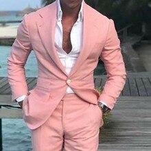 2018 Nieuwste Jas Broek Ontwerpen Zomer Strand Mannen Suits Roze Pakken Voor Bruiloft Bal Slim Fit Bruidegom Beste Mannen Mannelijke pak 2 Stuks
