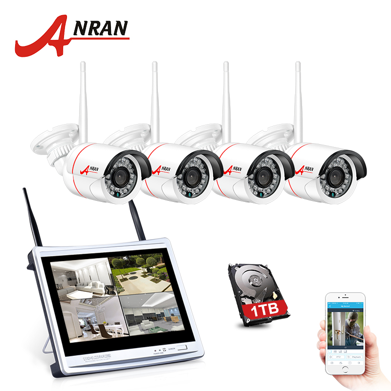 купить ANRAN P2P 4CH 1080P 12 Inch LCD Monitor WIFI NVR 24IR Waterproof Mini Wireless IP Surveillance CCTV Security System Kits 2TB HDD недорого