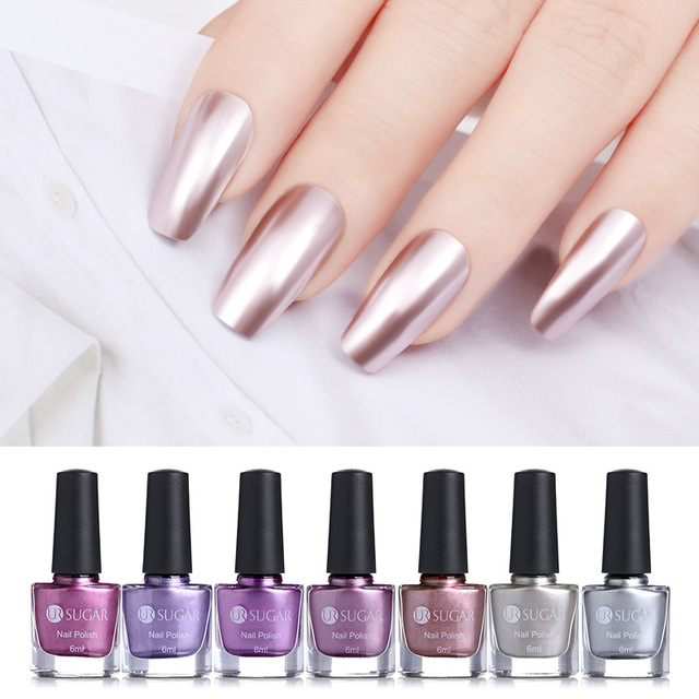 UR SUGAR 6ml Mirror Effect Metallic Nail Polish Purple Rose Gold ...