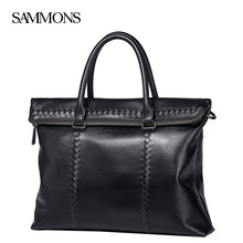 SAMMONS men's cowhide leather bag woven pattern handbag business Briefcase Laptop