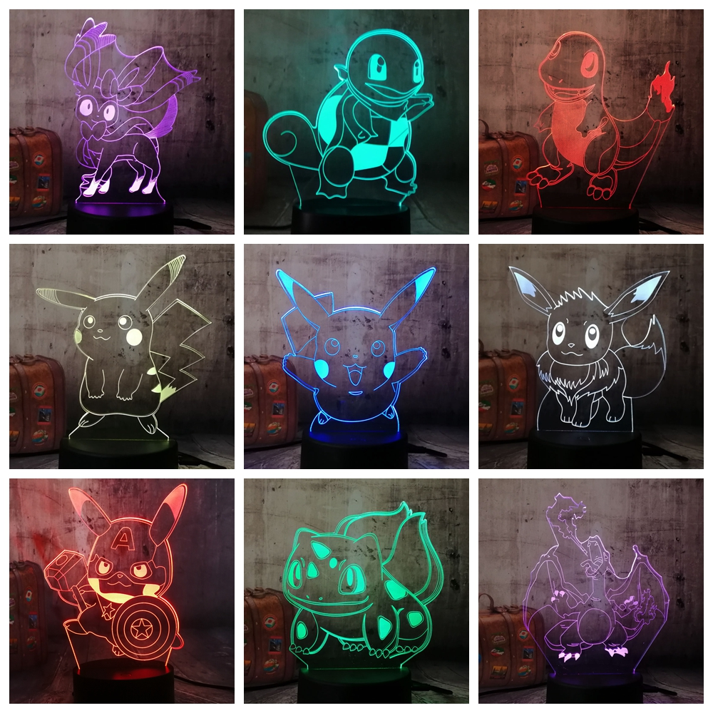 HOT Cute Cartoon Pokemon Series Pikachu Bulbasaur 3D LED Illusion Night Light 7 Color Table Lamp Kids Christmas Gift Home Decor