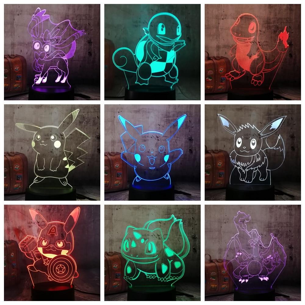 HOT Cute Cartoon Pokemon Series Pikachu Bulbasaur 3D LED Illusion Night Light 7 Color Table Lamp Kids Christmas Gift Home Decor