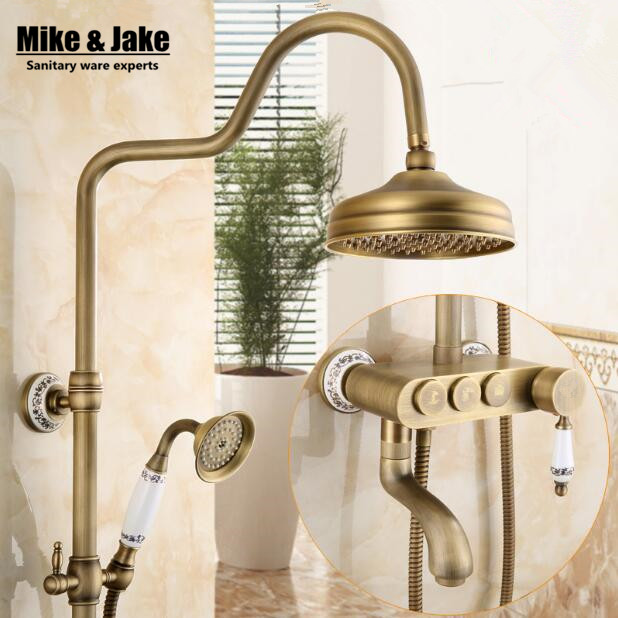 Bathroom wall antique shower set faucet mixer bathroom shower kit control with buttons bath shower set shower