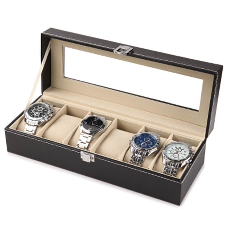 Black Leather Watch Bracelet Storage Box Transparent Glass Visible  Jewelry Casket Watch Packaging And Finishing Case